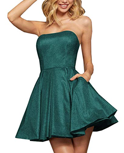 Neggcy Women's Short Strapless Glitter Homecoming Prom Dress with Pockets A Line Satin Bridesmaid Cocktail Formal Dresses Teal US2