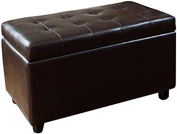 Simpli Home Faux Leather Rectangular Storage Ottoman Bench