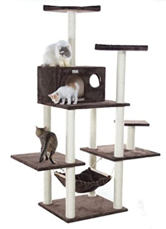 over 6 foot cat tree with hammock in brown extra large kitty tower with condo amazon     over 6 foot cat tree with hammock in brown extra      rh   amazon