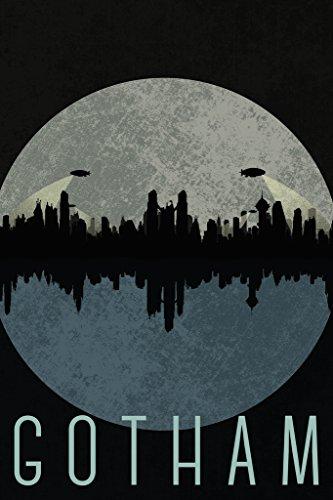 Gotham City Skyline Fantasy Travel Poster Poster 12x18