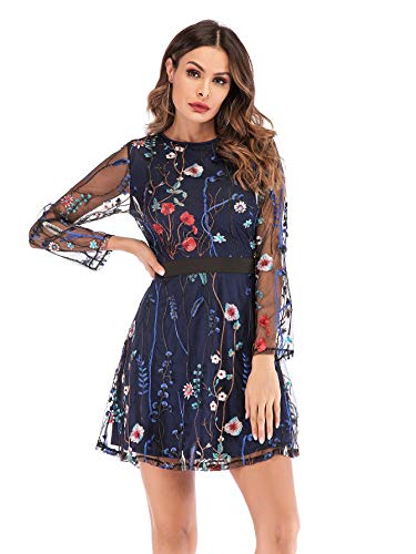 Milumia Women's Round Neck Floral Embroidered Mesh Long Sleeve Dress Navy Medium