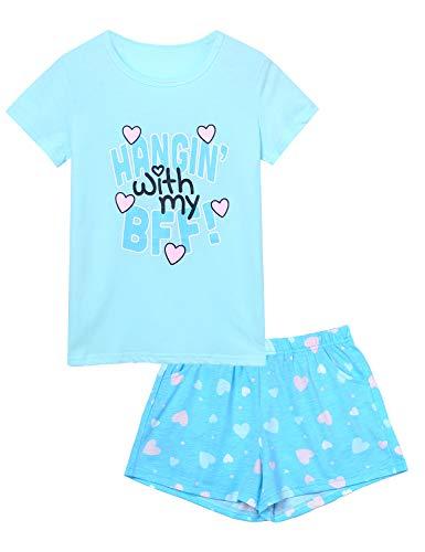 Jashe BFF Pajamas for Girls - Big Kids Summer Cute Short Sleeve & Bottoms PJS Set Size 16 - Girls Loungewear Pajamas