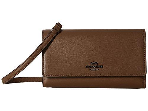 COACH Women's Smooth Leather Phone Crossbody Dk/Fatigue Crossbody Bag