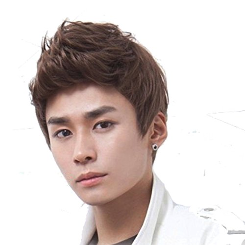 RightOn New Fashion Cool Man Boys Short Wig with Wig Cap (Dark Brown)