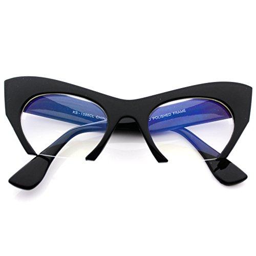 [High Fashion Semi-Rimless Cut Off Clear Lens Cat Eye Glasses] (Clear Cat Eye Glasses)