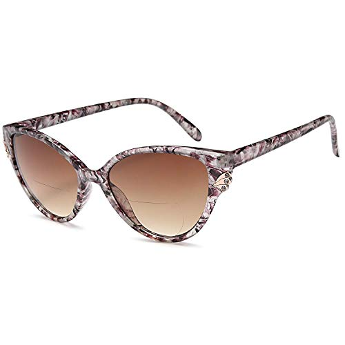 VVDQELLA Women's Bifocal Sunglasses Reading Glasses, Chic Cat Eye Diamond UV Protection Ladies Fashion Readers(Brown, 3.50) (In Cat Eye Sun Glasses)