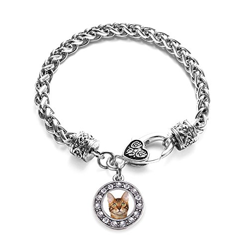 Inspired Silver Bengal Cat Circle Charm Braided Bracelet Silver Plated with Crystal Rhinestones