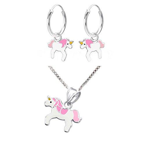 SL de Silver Set Cadena infantil pendientes pendientes de aro colgante Pinkes Unicornio 925plata en caja de regalo