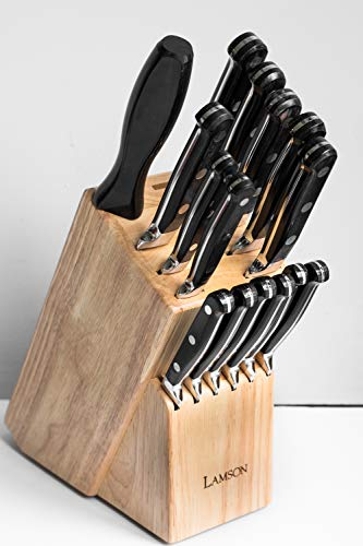 Lamson 49872 Earth Forged 16-Piece Block Set, Maple made in New England