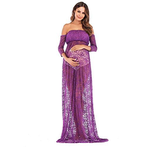 a6b523d93e3f Dress Notte Dresslksnf Gravidanza Premaman Una Estate L allattamento Sexy  Sette Viola Spalla Allattamento Prospettiva Manica Vestito Maternità Abiti  ...