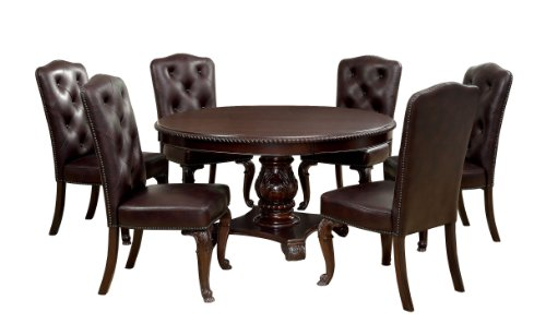 Furniture of America Evangelyn 7-Piece Dining Set with Leather-Like Chairs