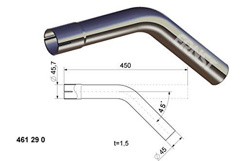 Auspuff Rohrbogen 45/° Grad L/änge 450 mm einseitig aufgeweitet /Ø 38 42 45 50 55 60 65 mm Auswahl: /Ø 45 mm Au/ßendurchmesser