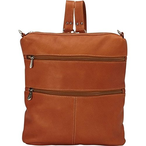 Piel Leather Convertible Multi-Pocket Shoulder Bag Backpack, Saddle, One Size by Piel Leather