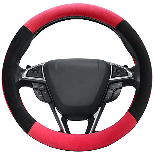 SEG Direct Red Plush Winter Auto Car Steering Wheel Cover Universal 15 inch