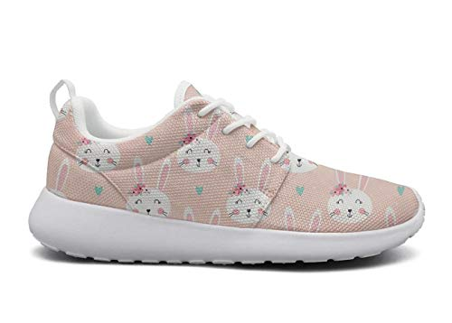 Womens Ultra Lightweight Breathable Mesh Athleisure Sneakers Cute Rabbits & Flowers Blue Heart Pink Fashion Walking Shoes -