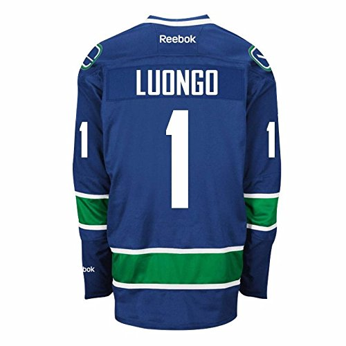 (Vancouver Canucks Goalie Roberto LUONGO #1 Official Third Reebok NHL Hockey Jersey (SEWN TACKLE TWILL NAME / NUMBERS))