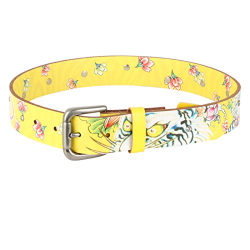 Big Ed Accessory (Ed Hardy Big Girls's Graphic with Studs Leather Belt - Yellow/Large)