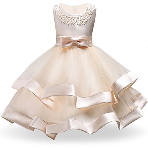 Kids Clothing Elegant Hand Beading Girls Dresses for Children Princess Party Costumes 3-10 Years,Champagne,ЧТ]()