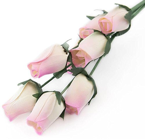 White Roses with Lavender Tips Bunch of 8 Closed Bud Wooden Roses For Crafts Custom Bouquets and other DIY Projects. Choose form Over 50 Colors.