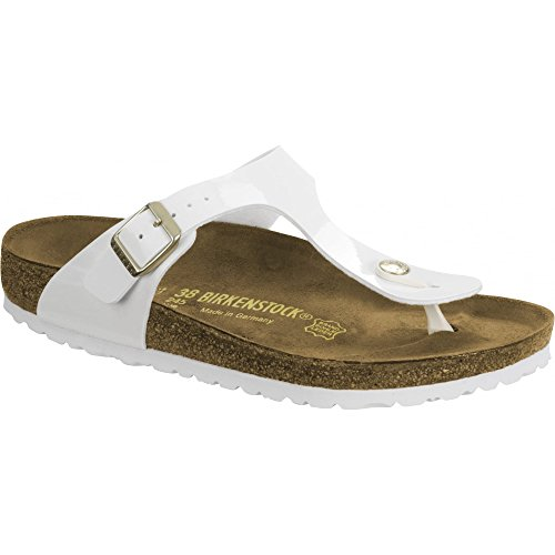 Birkenstock Women's Gizeh BirkoFlor -Standard Fitting Buckled Toe Post Thong Style - Flip Flop Sandal UK8 - EU41 - US10 - AU9 White Patent by Birkenstock