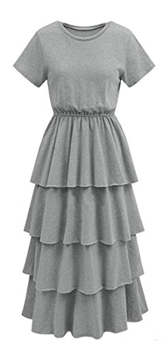 Slim Layered Dress Fit Sleeve Crew Jaycargogo Grey Summer Womens Neck Ruffled Short wEqvnIC7x