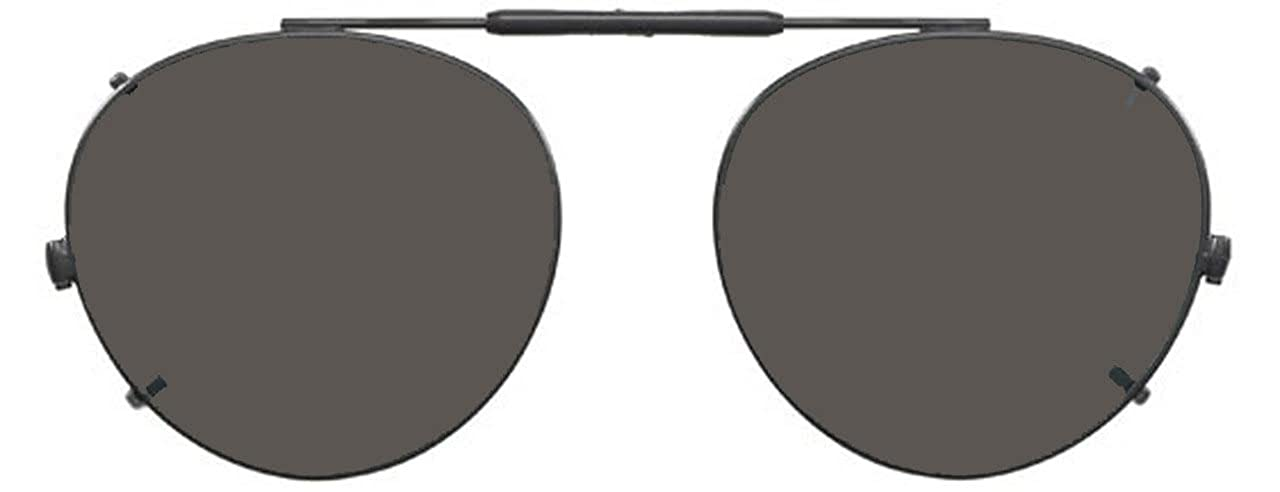49 x 43 Eye Gold Frame Visionaries Polarized Clip on Sunglasses Round
