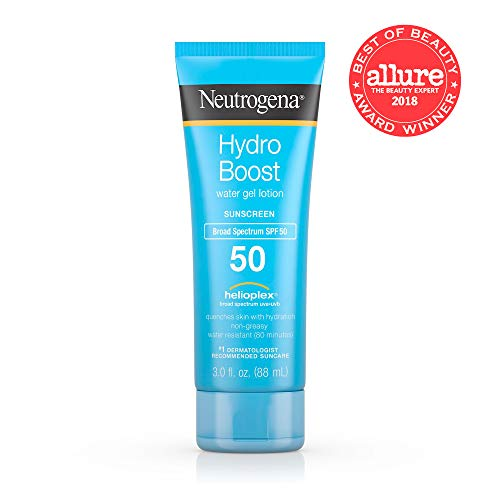 Neutrogena Hydro Boost Water Gel Non-Greasy Moisturizing Sunscreen Lotion with Broad Spectrum SPF 50, Water-Resistant, 3 fl. Oz