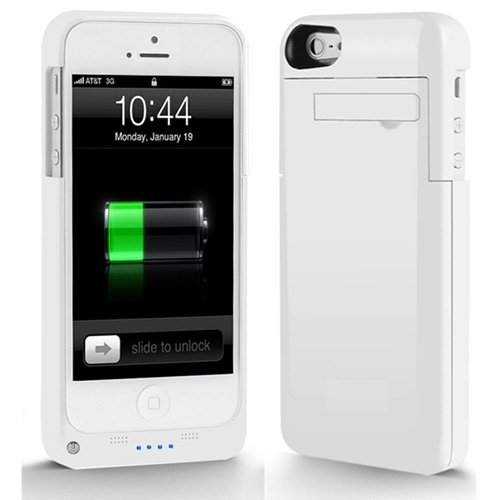 NOKKOO Power Bank charger case External Rechargeable Backup Battery Charger Charging Case Cover for iPhone 5C with Pop-out Kickstand / Multi-colors (White)