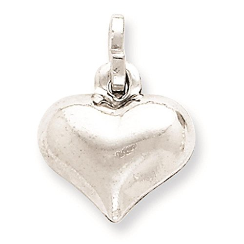 (925 Sterling Silver Hollow Puffed Hollow Heart 3-D Charm Pendant 14mm x 13mm)