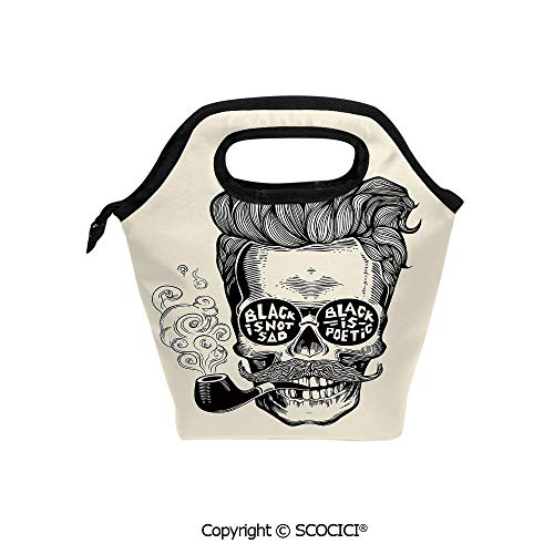 - Reusable Insulated Lunch Bags with Pocket Hipster Gentleman Skull with Mustache Pipe and Eyeglasses with Inscription Vintage for Adults Kids Boys Girls.