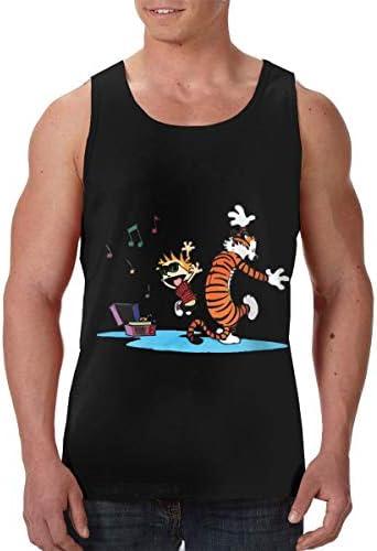 カルバン&ホッブズ Calvin & Hobbes メンズ フロントプリント袖なしク シャツ 速い乾燥 ジム トレーニング用