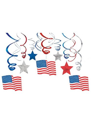 30pc Patriotic Hanging Swirl (Mickey's Halloween Party Fireworks)