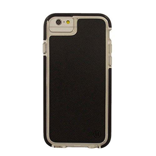 Uunique Armour Saffiano PU Leder Hard Shell Cover Schutzhülle für iPhone 6/6S–Schwarz