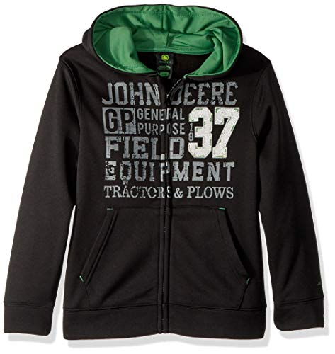 John Deere Boys' Big Fleece Zip Poly Hoody, Black, L(14/16)