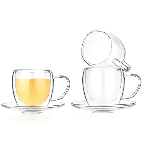 Tealyra - 8.5-Ounce Double Wall Glasses and Saucer - Set of 4 - Espresso Coffee - Tea - Cappuccino - Clear Cups - Heatproof Insulating - Keeps Beverages Hot - -