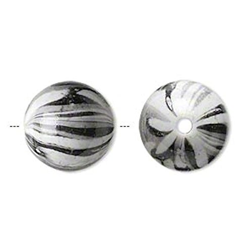 30 Acrylic Opaque Grey Black White Camouflage Round Beads fo