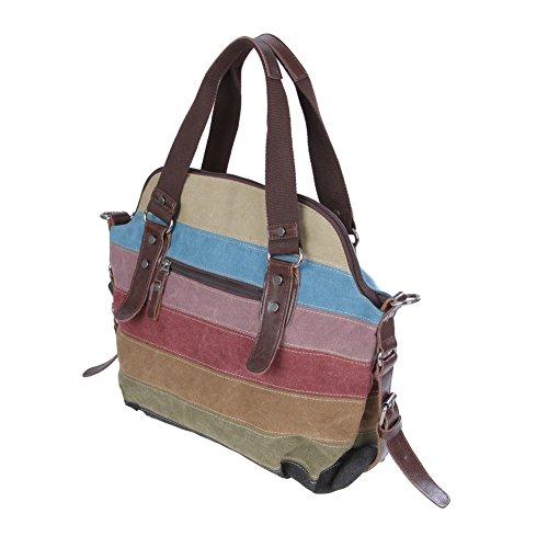 Koolertron Vintage da donna in finta pelle tracolla Colorful canvas tote crossbody borsa