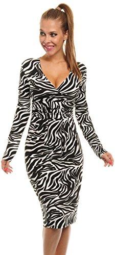 Glamour Empire Women's Animal Print Stretch V Neck Jersey Dress 285a (Zebra, 12)