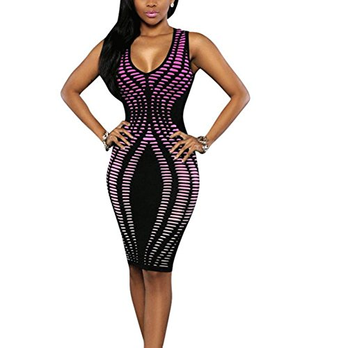 Women Dress, Misaky Bandage Cocktail Sleeveless Bodycon Evening Party Dresses (XL, Y_Purple)