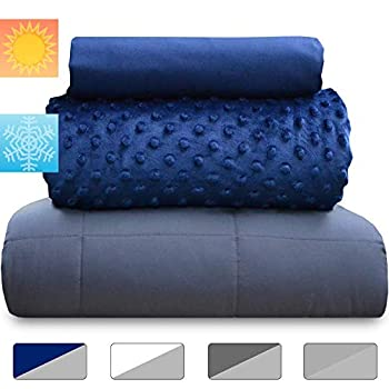 Image of chilla 15 lbs Weighted Blanket Set | 3 Piece Set | Summer + Winter Duvet Covers | 60in x 80in | Therapeutic for Anxiety, Stress, ADHD, Insomnia | Navy Blue + Gray chilla B07BJMTJTD Weighted Blankets