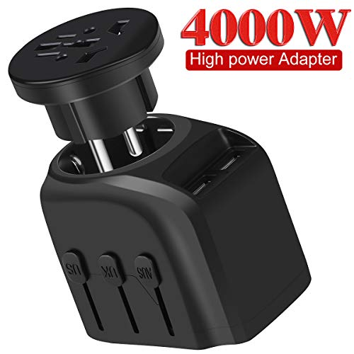 European Travel Plug Adapter, YVELINES 4000W International Power Adapter with 2 Smart Identification USB Charging Ports, converters and adapters for travel,for US,EU,AU,UK,Asia,Africa etc,Black by YVELINES (Image #6)