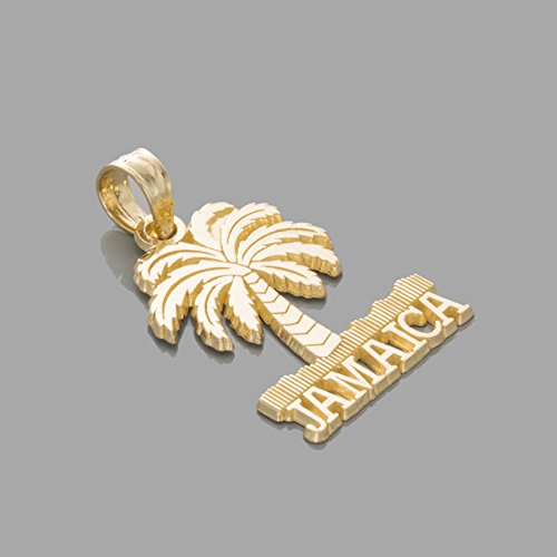 14k Yellow Gold Travel Charm Pendant, Jamaica Under Palm Tree by Million Charms (Image #1)