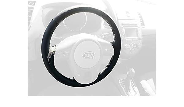 Amazon.com: RedlineGoods cubierta del Volante Compatible con Kia Soul 2009-13. Cuero Negro Costura Canela: Automotive