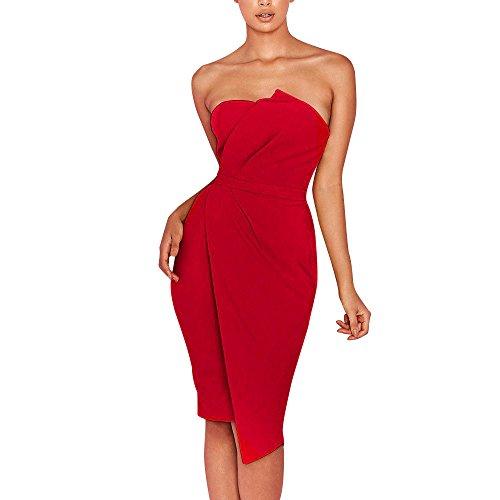 HIRIRI Women Bodycon Dresses Overlap Wrap Dress Summer Beach Gowns Solid Color Pencil Mini Skirt Red