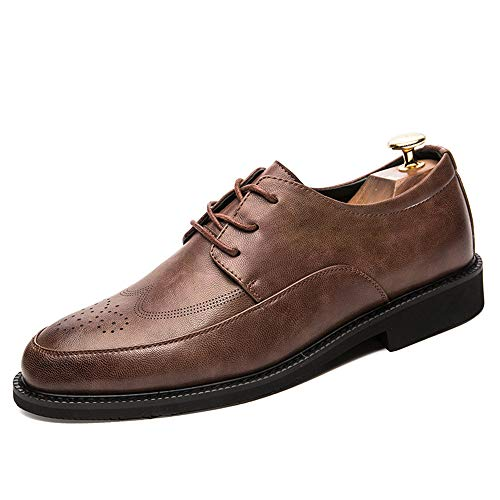 Xujw-shoes, 2018 Scarpe Stringate Basse Moda casual da uomo PU in pelle anti-scivolo traspirante Scarpe Oxford Business brogue (Color : Nero, Dimensione : 41 EU) Grigio