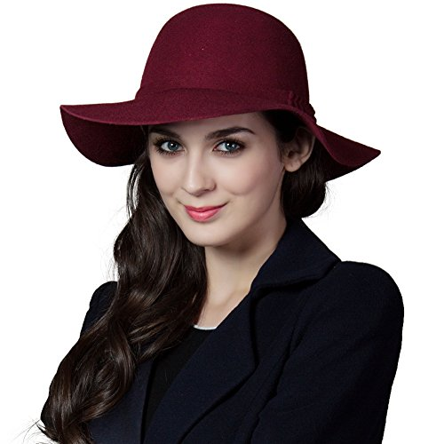 Siggi Woman 100% Wool Felt Top Hat Big Brim Winter Fedora Hats for Women Burgundy by SIGGI (Image #1)