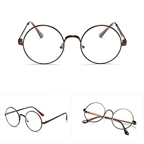 f648ed83d8 Image Unavailable. Image not available for. Color  Lamdoo Chic Eyeglasses  Retro Big Round Metal Frame Clear Lens Glasses Nerd ...