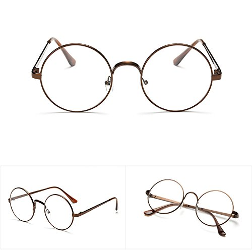 b612e599e3 Amazon.com  Lamdoo Chic Eyeglasses Retro Big Round Metal Frame Clear Lens  Glasses Nerd Spectacles (Copper)  Home   Kitchen