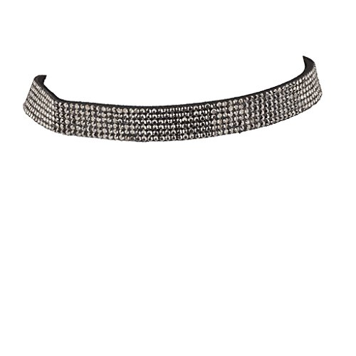 Lux Accessories 6 Row Hematite Pave Rhinestone Black Suede Choker