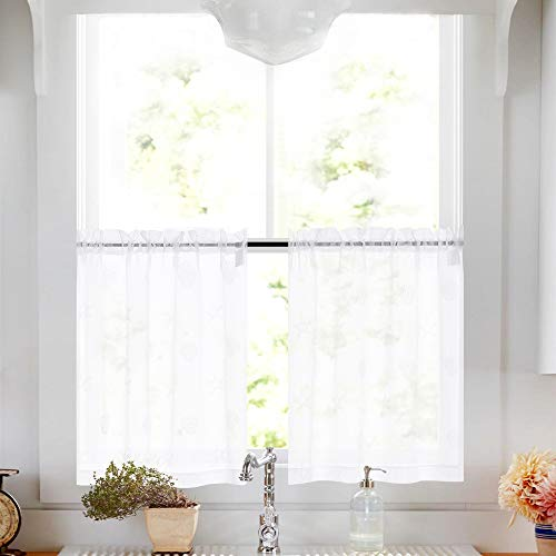 Seashells Window Windows - White Kitchen Curtains Small Windows 45 Inch Length Transparent Sheers for Bedroom Drapes Sea Shells Patttern Half Window Tiers Living Room Curtain Sets 2 Panels
